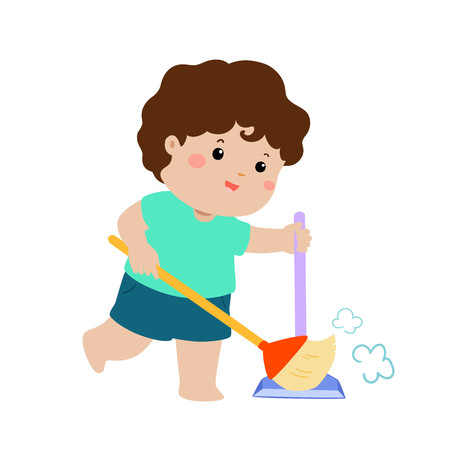 Cute boy sweeping the dust on a white background vector illustration. Illustration