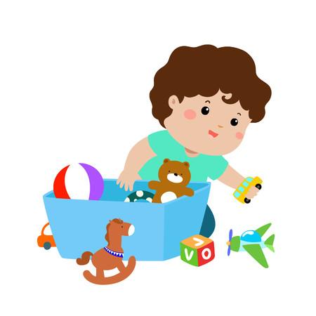 Illustratie van het glimlachen van jong geitjejongen die zijn speelgoed in de doos opslaan.