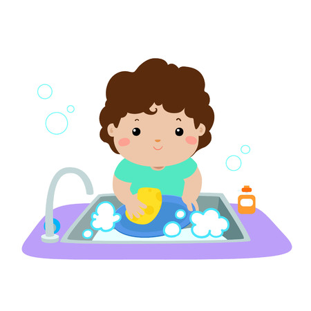 Illustration of happy boy washing dish on white background vector.