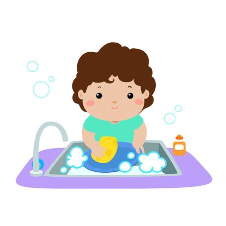 Illustration of happy boy washing dish on white background vector.
