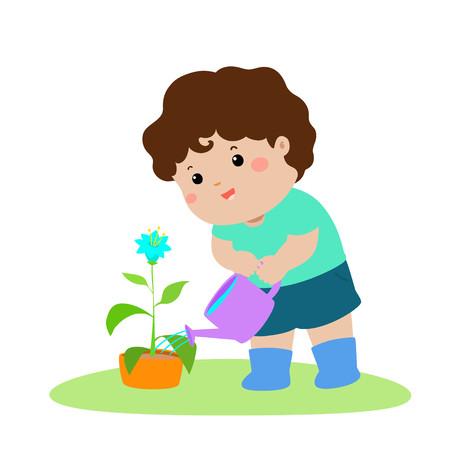 Cute cartoon boy watering plant vector illustration.