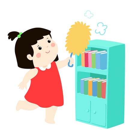 Cute girl wiping the dust from bookshelf vector illustration. 向量圖像