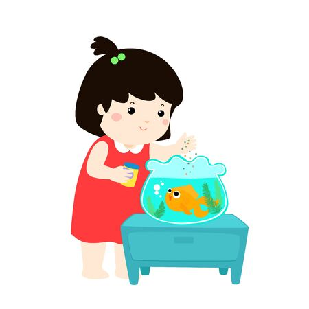 Illustration of cute little girl feeding fish in aquarium cartoon vector.