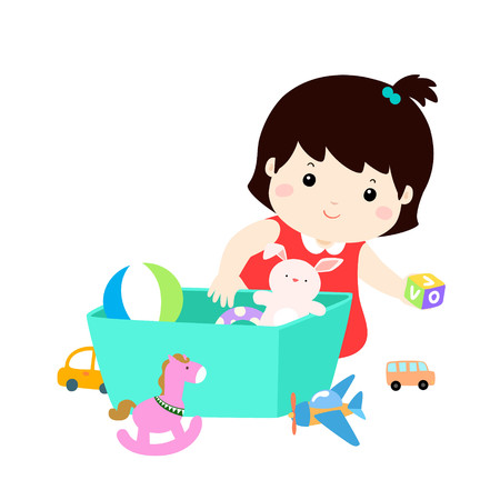 Illustration of smiling kid girl storing his toys in the box. 矢量图像