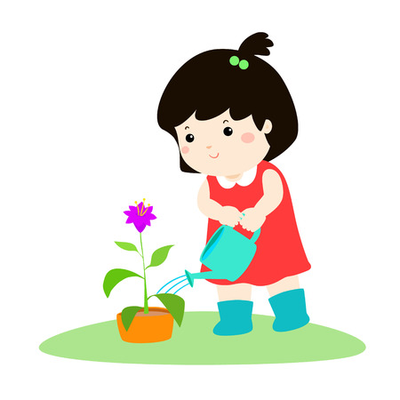 Cute cartoon girl watering plant vector illustration.
