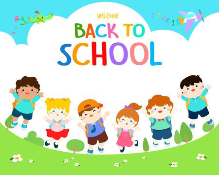 Bienvenue à l'illustration vectorielle de l'école. Enfants multiraciales mignons joyf sauter sur le terrain de jeu. Modèle d'affiche publicitaire, votre texte, prêt pour votre message. Illustration vectorielle