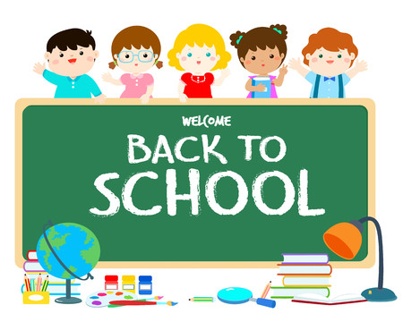 Welcome back to school blackboard vector illustration. Cute multiracial children joyful behind blackboard with stationary in classroom. Template for advertising poster, your text, ready for your message vector illustration. 向量圖像