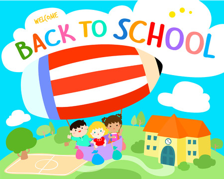 Welcome back to school vector illustration. Cute multiracial children joyfull on colorful balloon. Template for advertising poster.