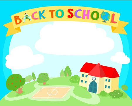 Back to school colorful background vector. Template for advertising poster,your text,ready for your message.  Fresh green land and building vector illustration.