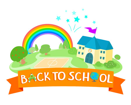Back to school icon design vector. For advertising poster. Colorful school building rainbow and fireworks vector illustration.