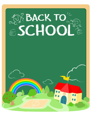 Back to school poster design vector. Template for advertising poster.Ready for your text,message,blank, colorful rainbow with school on green land and cute blackboard  vector illustration. 向量圖像