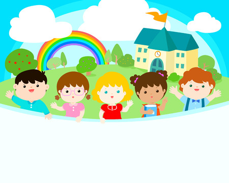 Cute multiracial children joyful at school background vector. Template for advertising poster,your text, ready for your message.  Colorful rainbow with school in sunny day vector illustration. 向量圖像