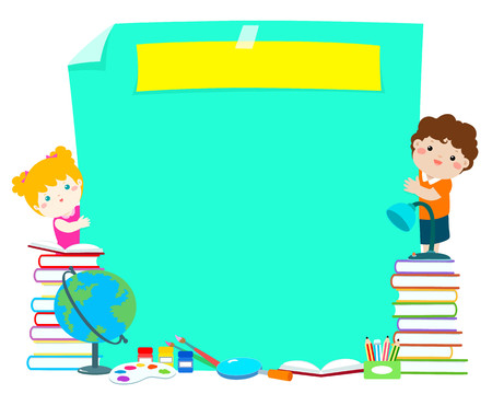 Back to school poster design  vector. Template education concept for advertising poster. Ready for your text,message,blank, cute boy and girl behind paper and school supplies  vector illustration. 向量圖像