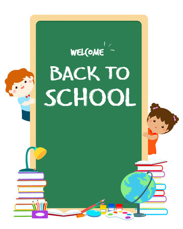 Welcome back to school blackboard vector illustration. Cute children joyful behind blackboard with school supplies. Template for advertising poster.