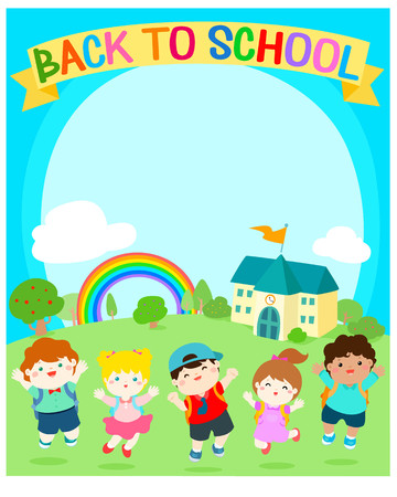 Cute multiracial children joyful at school background vector.Template for advertising poster,your text, ready for your message. Colorful rainbow with school in sunny day vector illustration.