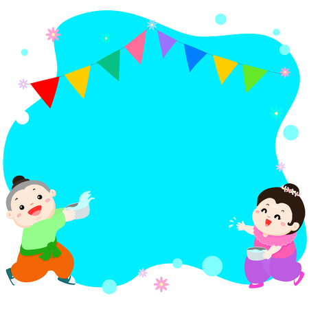 Happy boy and girl splashing in songkran festival Thailand illustration vector background, space in between for text 向量圖像