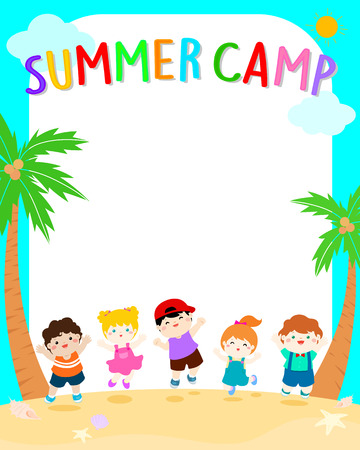 happy children jumping on beach,summer kids camp vector illustration, ready for your text