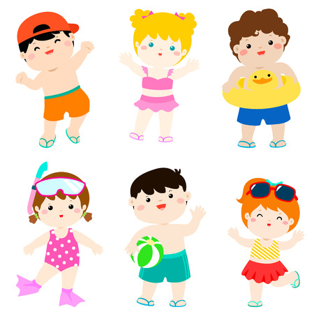 summer multicultural cute kids in swimsuit vector illustration