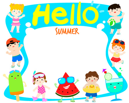Hello summer multicultural cute kids in swimsuit and colorful snack template vector poster design. Ready for your text.
