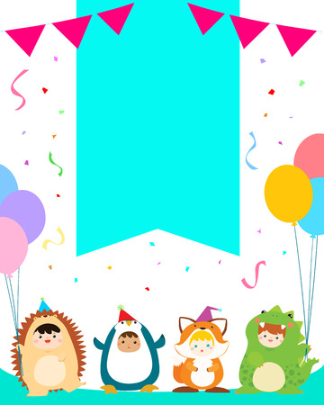 cute boys and girls in animal costumes for kids party colorful template vector illustration,ready for your text 向量圖像