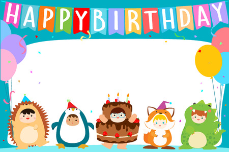cute boys and girls in fancy costumes for birthday party colorful template vector illustration,ready for your text 向量圖像