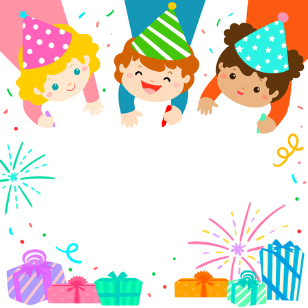 multicultural cute kids draw invitation for kids party colorful template vector illustration,ready for your text