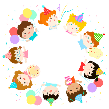 cute multicultural party colorful template vector illustration,ready for your text 向量圖像