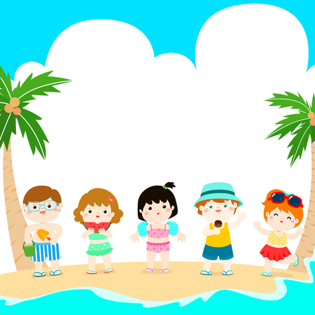 hello summer multicultural cute kids in swimsuit template vector illustration. Ready for your text.