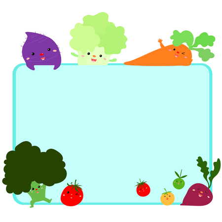 cute vegetable frame vector background illustration, ready for your text
