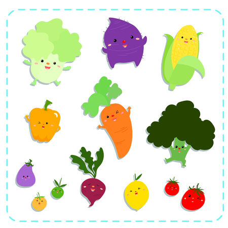 cute vegetables vector illustration pack 向量圖像