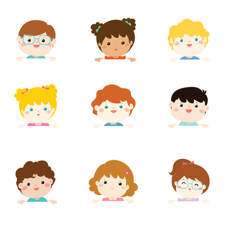 Cartoon collection of little children portraits. Children of different nationalities and various gestures holding empty white board. Lots of copy space for your text and logo. Place for text. Blank banner.