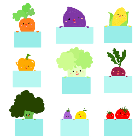 Cute cartoon vegetables holding empty board vector illustration.Ready for your text. Blank banner.