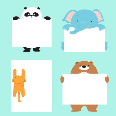 Animal holding empty banner template. Cute animal banner set cartoon vector.Ready for your text.
