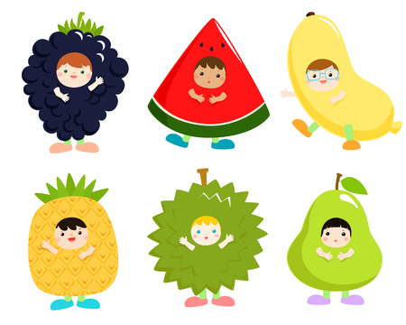 Set of kids in cute fruit costumes vector illustration. 向量圖像