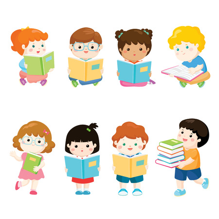 collection of children reading books for education vector illustration 向量圖像