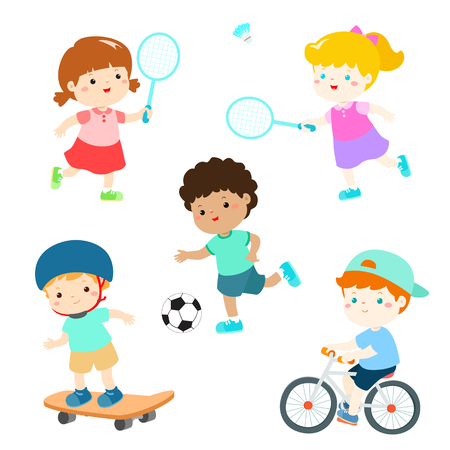Kids in various sport activity vector illustration