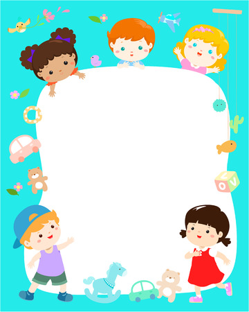 Blank template cute multiracial kids poster design vector illustration