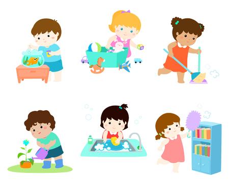 Los niños hacen quehaceres domésticos conjunto de ilustraciones vectoriales.