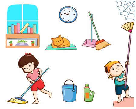 Enfants heureux nettoyant l'illustration vectorielle de la maison.