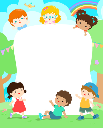Blank template character smiley kid vector illustration.Ready for your message. Children on the yard with colorful bird cartoon. 向量圖像