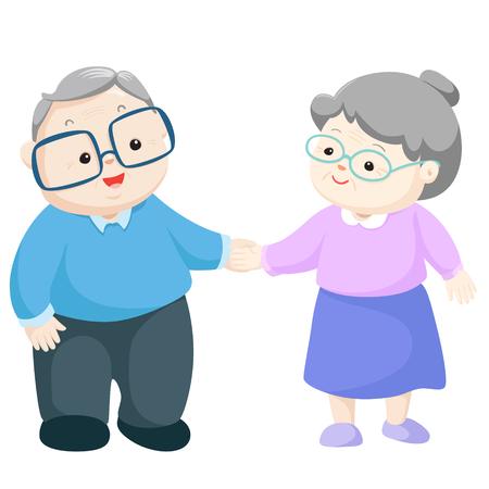 Glückliche Großeltern-Vektor-Illustration. Vektorgrafik