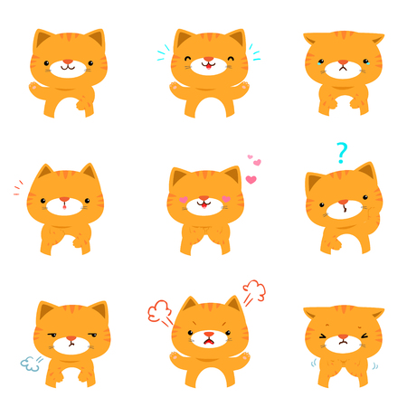 Cat face expression, set of cat cartoon vector illustration,   facial expressions.