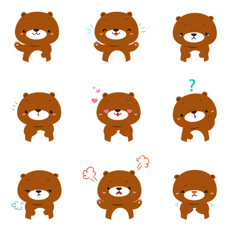 Bear face expression, set of bear cartoon vector illustration,   facial expressions.