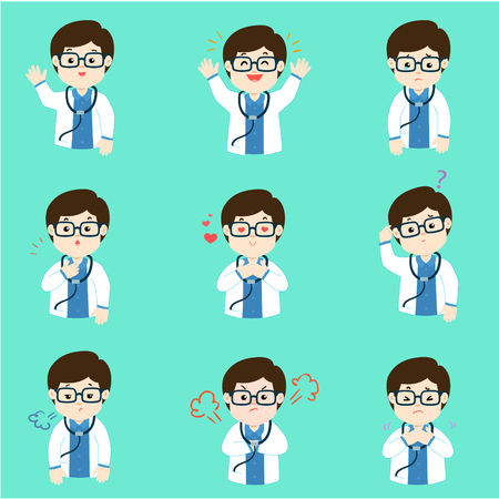 Doctor face expression, set of cartoon doctor vector illustration, 