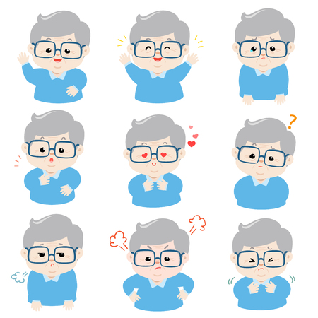 Grandfather face expression, set of grandfather character illustration,   facial expressions.