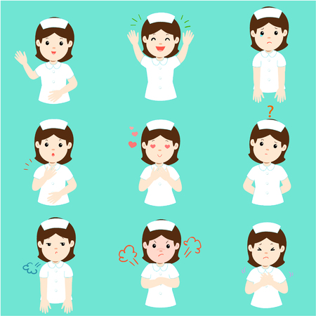 Nurse face expression, set of cartoon nurse vector illustration,   facial expressions.