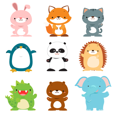 cute vector cartoon animals collection illustration