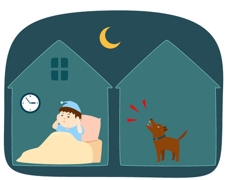 Neighbors dog barking loudly at night vector cartoon illustration. Иллюстрация