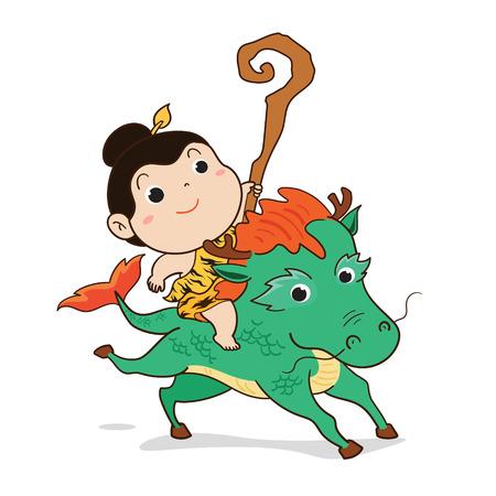 Thailändischer Jungencharakter, der das Pferd im Märchenvektor reitet.