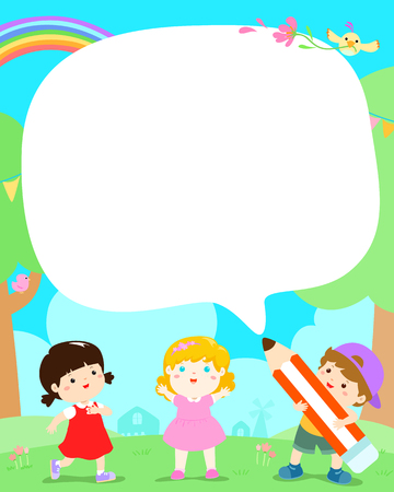 Blank template cute multiracial kids vector illustration.Children in the yard with big pencil cartoon.